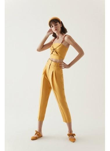 Rue Zincir Askılı Düğüm Detaylı Bluz Sarı